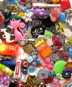 Grab Bag of Charms Buttons Craft Supplies and Findings from New to Vintage - 50 Pieces Plus. $4.95, via Etsy.