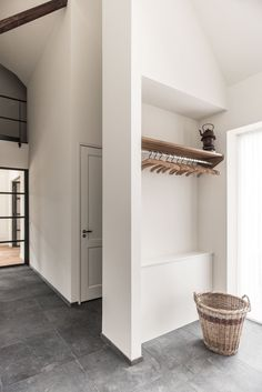 Ceramic Tile Floor Entrance, wardrobe Dutch Farmhouse by Diana Lautenbag