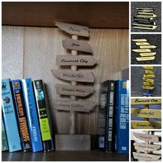Direction sign bookend with favorite literary places