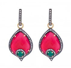 SKU-RPSE07978  Gold plated sterling silver earring made with semi precious stones