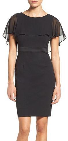Women's Adrianna Papell Chiffon Capelet Sheath Dress