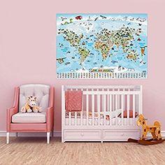 Panorama Weltkarte für Kinder XXL - 140x100cm Kinder-Weltkarte komplett handgezeichnet und koloriert