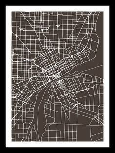 Detroit Wall Art detroit map, detroit painting, watercolor, michigan, giclee fine