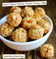 Honey Peanut Butter Protein Energy Balls Recipe: mix 7 simple ingredients together to make my favorite energy balls in minutes! #client