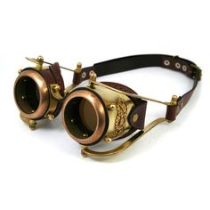STEAMPUNK GOGGLES made of solid brass brown leather gears decor... ($160) ❤ liked on Polyvore