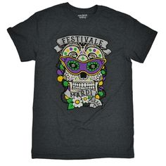 Mardi Gras Sugar Skull Dark Heather T-Shirt - Tees2urdoor