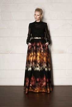 LACE - TRIMMED SILK TOP & BLACK / COPPER LONG SKIRT