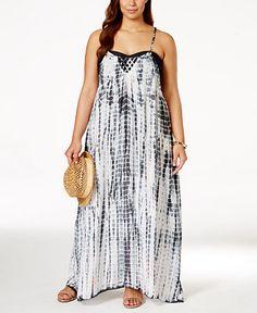 Raviya Plus Size Lattice-Back Tie-Dye Cover-Up Dress - Swimwear - Plus Sizes - Macy's