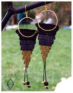 Macrame Earrings, Plant Hanger, Triangle, Etsy, Unique Jewelry, Handmade Gifts, Awesome, Bell Jars, Earrings