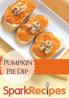 Pumpkin Dip Recipe. Whip up this yummy recipe today! | via @SparkRecipes #pumpkin #dip #fallflavors