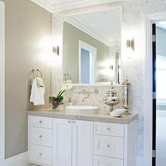 White Quartz Bathroom Counter by courtney hill interiors - lookbook | tan bathroom, stools and bath
