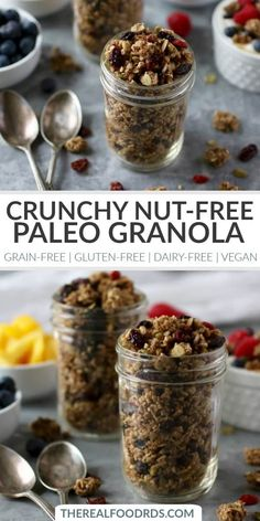 Crunchy Nut-free Paleo Granola - The Real Food Dietitians Granola Sans Gluten, Paleo Granola Recipe, Vegan Granola, Grain Free Granola, Crunchy Granola, Granola Bites, Whole Food Recipes, Snack Recipes, Cereal Recipes