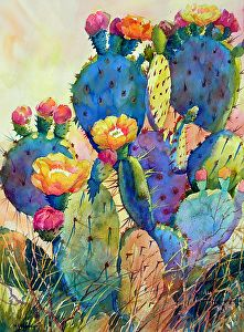 CACTUS DELIGHT by Mary Shepard Watercolor ~ image size: 29 x 21 unframed art garden indoor plants Cactus Painting, Watercolor Cactus, Cactus Art, Painting & Drawing, Cactus Flower, Succulents Painting, Succulents Art, Succulents Drawing, Flowering Succulents