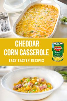 Try a delicious Cheddar Corn Casserole recipe from Del Monte. Quick, easy instructions make this Cheddar Corn Casserole recipe a breeze. Easy Easter Recipes, Corn Recipes, Great Recipes, Chicken Recipes, Favorite Recipes, Recipies, Vegetable Side Dishes, Vegetable Recipes, Vegetarian Recipes