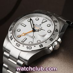 """Rolex Explorer II Latest Model - 42mm """"Orange Hand"""" REF: 216570   Year Feb 2014 - Under Rolex warranty until Feb 2016! There is something so striking about the large orange 2nd time-zone hand of these latest model 42mm Explorer II's that they always get plenty of attention in our window... Nicknamed the 'Steve McQueen', this example sports the clean, white luminous dial, latest Oyster bracelet and is waterproof to 100m - for sale at Watch Club, 28 Old Bond Street, Mayfair, London"""