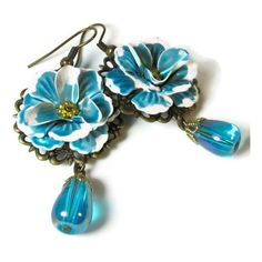 Flower Earrings, Turquoise, Teal Blue, Vintage Inspired ($18) ❤ liked on Polyvore featuring jewelry, earrings, beaded earrings, teal earrings, filigree earrings, flower jewelry and beaded dangle earrings