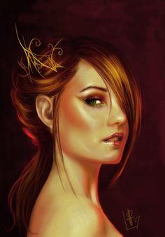 Redhead Painting | ... Picture (2d, portrait, female, fantasy, redhead, royal, princess