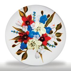 """Paul Stankard 1978 """"First Bouquet"""" on clear ground paperweight.(82) images"""