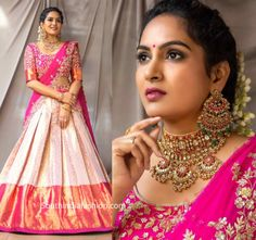 himaja in kanchi pattu half saree lehenga scaled Party Wear Indian Dresses, Indian Gowns Dresses, Indian Bridal Outfits, Indian Bridal Fashion, Indian Fashion Dresses, Dress Indian Style, Party Wear Lehenga, Indian Designer Outfits, India Fashion