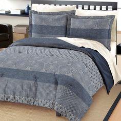 Free Spirit Marina Cotton Comforter And Sham Set, Blue, Queen