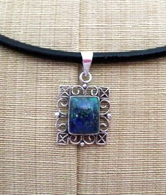 Ornate Vintage Sterling Silver Blue Green Azurite Pendant, New Leather Necklace