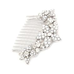 ACCESSORIESFOREVER Women Bridal Wedding Jewelry Crystal Rhinestone Pearl Multi Flowers Hair Comb Silver ** You can get additional details at the image link.