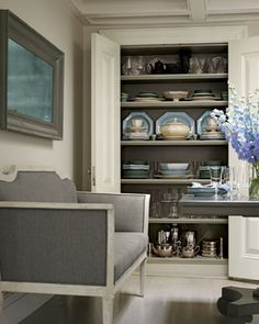 China Cabinet like dark backing against lighter shelves for platter storage area in butler pantry. Ours would not be so formal or traditional Silver Room, Grey Shelves, Room Colors, Paint Colours, Built Ins, China Cabinet, Dish Cabinet, House Tours, Home Kitchens