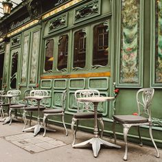 By: Irene Suchocki green windows,beautiful Arte Nouveau detailing .guessing France or Belgium Beautiful Buildings, Beautiful Places, Amazing Places, Beautiful Pictures, Sidewalk Cafe, Outdoor Cafe, Outdoor Dining, Outdoor Seating, Outdoor Spaces