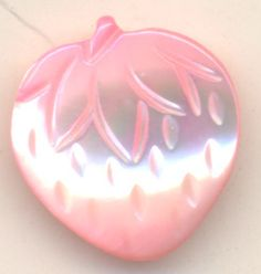 Vintage Schwanda Button, Carved Mother of Pearl, Realistic PINK STRAWBERRY