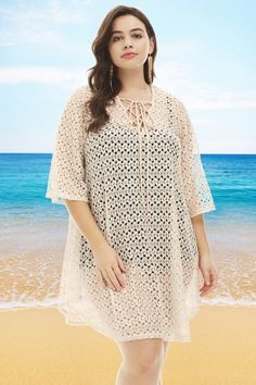829b6f89d3 Always For Me Crochet Lace Up Plus Size Cover Up Natural - Only Size 1X Left