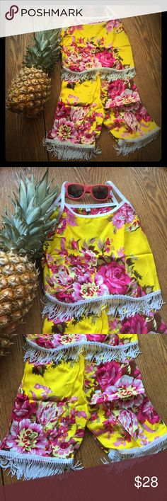 New for 2017 kids vintage style bloomer set *last picture shows how it wears!* New for 2017! Our gorgeous summer fringe set for babies and children! Handmade in bali from lightweight rayon cotton with vintage floral design and fringe flow trim. Flow top with adjustable straps and elastic waist bottom for a comfortable universal fit. Such a cute little boho fit! handmade Matching Sets