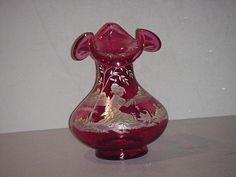 Fenton Mary Gregory Dark Cranberry Signed Vase