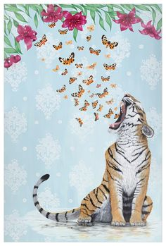 This tiger is full of wondrous things, such as butterflies and floral surprises. Shop more of Heather Gauthier& unique animal art today. Tiger Drawing, Tiger Painting, Tiger Art, Tiger Illustration, Jungle Art, Mandala, Unique Animals, Canvas Artwork, Art Inspo