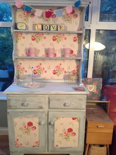 dresser painted and cath kidston paper