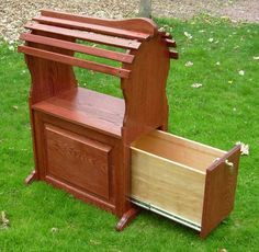 photo of Red Oak Stand - with Mahogany Stain (Open Drawer)