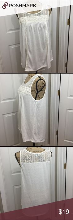 Embroidered tank top Cream colored tank top with embroidery on the top. Very roomy! Sonoma Tops Tank Tops