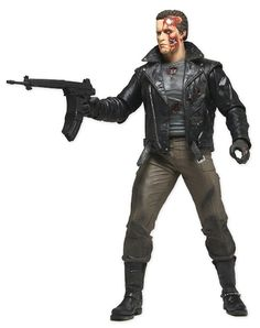 Series 3 Tank Pursuit T-800 with his battle damaged look from the final scenes of The Terminator, features interchangeable heads