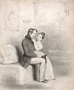 """A cute illustration of Queen Victoria with Prince Albert of Saxe Coburg. She s saying """"Albert,will you marry me?""""    1840s."""