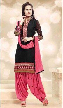 Patiala Style Black Color with Resham Work Incredible Punjabi Salwar Kameez