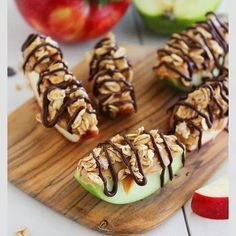 Chocolate granola peanut butter apple bites