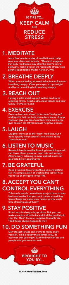 Infographic: 10 tips to keep calm and reduce stress