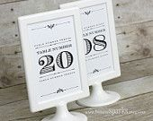 Vintage Table Numbers - Printable - Tent Style. $15.00, via Etsy.
