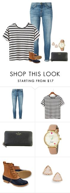 """stripes"" by ameliahinton ❤ liked on Polyvore featuring Current/Elliott, Kate Spade, L.L.Bean and Kendra Scott"