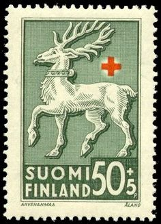 Postage stamp depicting the coat-of-arms symbols of the Åland (Ahvenanmaa) province of Finland