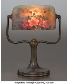 Art Glass:Other , HANDEL REVERSED PAINTED GLASS DESK LAMP WITH BRONZE BASE. Circa1915, Painted: HANDEL, 6760; Cloth label: Handel Lamps. ...