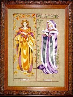 """Maidens of the Seasons II is the title of this cross stitch pattern from Mirabilia. There is a companion cross stitch pattern titled """"Maiden..."""
