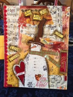 Mixed media canvas/Christmas/snowman/joy/love