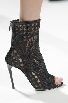 b2be251d464 Balmain Spring 2013 open toe lacey black booties.  heels Bootie Boots