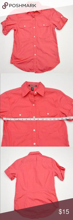 "Lauren Ralph Casual Button Down Shirt Lauren Ralph Lauren Shirt Womens Casual Button Down  Size S Small  Weekend Shopping  Good condition, previously loved. Approx 15.5"" armpit to armpit while laying flat. Color is pink.  A-018 Lauren Ralph Lauren Tops Button Down Shirts"