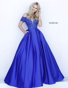 Sherri Hill 51611 Beaded Off The Shoulder Ball Gown Grad Dresses Short, Prom Dresses With Pockets, A Line Prom Dresses, Pageant Dresses, Satin Dresses, Homecoming Dresses, Bridal Dresses, Dress Pockets, Royal Blue Dresses